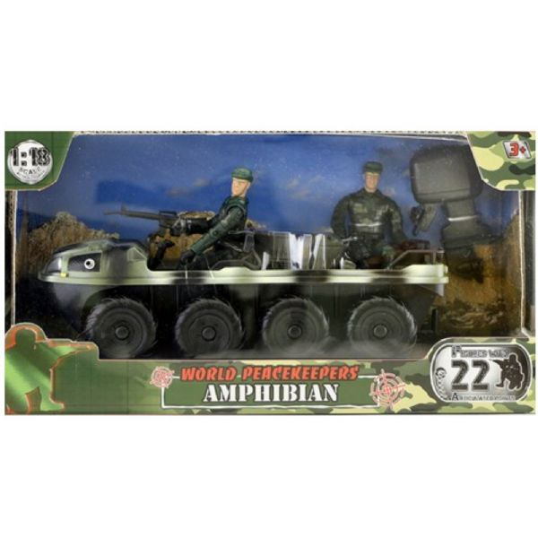 World Peacekeepers Military Amphibian Army Vehicle toy with 2 figures 3+ Years
